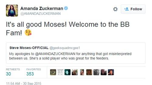 Big Brother 17 Winner Steve Moses Bullied by GinaMarie Zimmerman into Amanda Zuckerman Twitter Apology