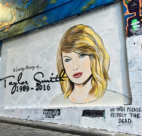 Taylor Swift Threatens Legal Action Against Artist Lush Sux For Slanderous 'RIP Taylor Smith' Mural - Art Already Defaced!