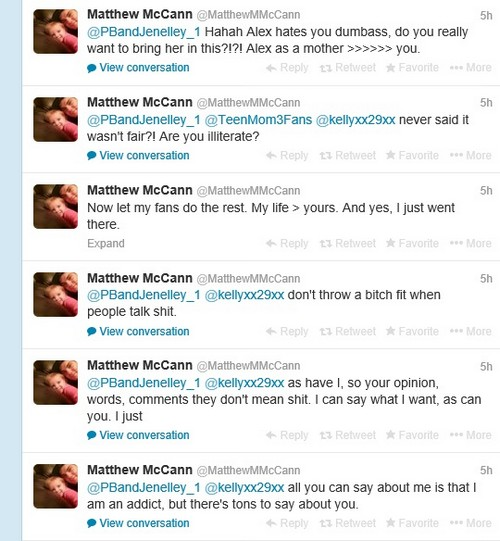 Teen Mom's Jenelle Evans And Matthew McCann Twitter Feud: Who Is The Bigger Drug Addict?