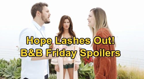 The Bold and the Beautiful Spoilers: Friday, January 10 - Hope Lashes Out At Liam - Steffy Kiss Ruins Brooke and Ridge Reunion