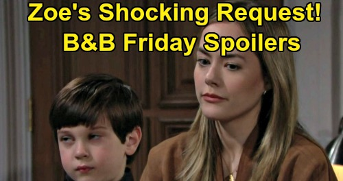 The Bold and the Beautiful Spoilers: Friday, February 21 - Zoe's Shocking Thomas Request - Douglas Tells Hope A Secret