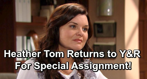The Bold and the Beautiful Spoilers: Heather Tom Returns to Y&R On Special Assignment – Shares Exciting News with Fans