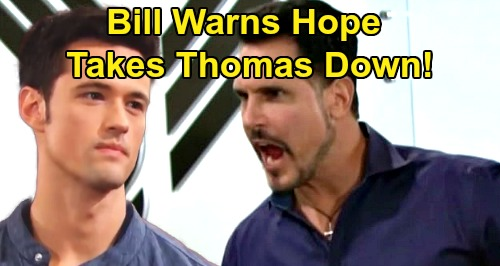 The Bold and the Beautiful Spoilers: Bill Warns Hope About Thomas Danger - The Only Spencer Capable of Taking Thomas Down
