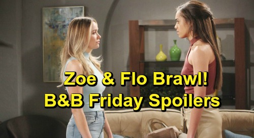 The Bold and the Beautiful Spoilers: Friday, April 26 - Zoe & Flo Brawl - Katie Changes Her Mind, Then Spots Bill With Shauna