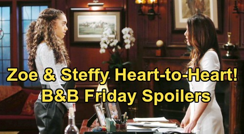 The Bold and the Beautiful Spoilers: Friday, April 3 - Steffy & Zoe Heart-To-Heart Talk - Escobar Dodges Flo's Questions