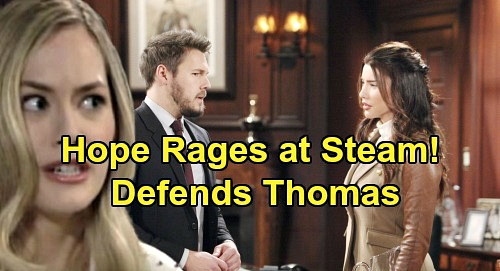The Bold and the Beautiful Spoilers: Hope Furious At Liam and Steffy – Rages After 'Steam' Gangs Up On Thomas