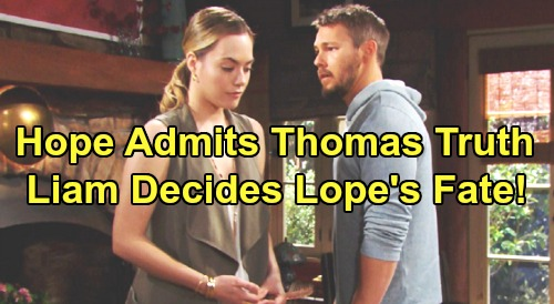 The Bold and the Beautiful Spoilers: Hope Comes Clean About Thomas Bombshell – Stunned Liam Decides the Fate of 'Lope'