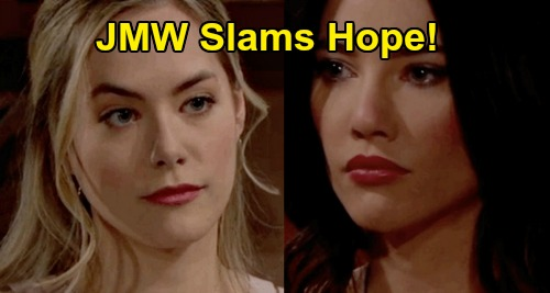 The Bold and the Beautiful Spoilers: Jacqueline MacInnes Wood Slams Hope, 'Being a Typical Logan' – Justifies Steffy's Upcoming Fury
