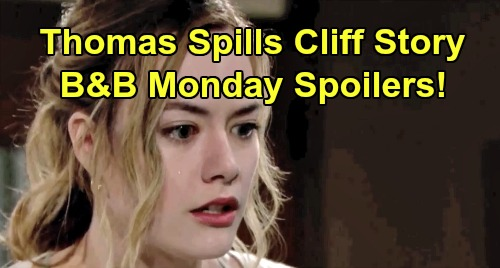 The Bold and the Beautiful Spoilers: Monday, September 2 - Brooke Nervously Awaits Thomas' Cliff Story - Wyatt & Sally Passionate Kiss