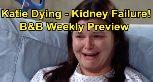The Bold and the Beautiful Spoilers: Week of October 7 Preview - Katie Dying of Kidney Failure - Bill & Logan Sisters Desperate