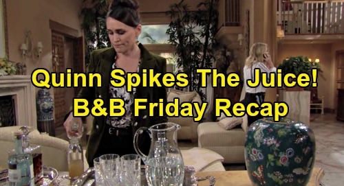 The Bold and the Beautiful Spoilers: Friday, January 31 Recap - Quinn Adds Vodka To Brooke's Juice - Sally Confides In Katie
