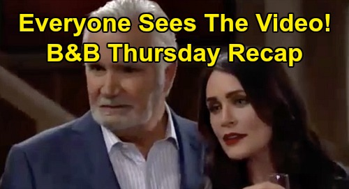 The Bold and the Beautiful Spoilers: Thursday, March 26 Recap - Everyone Sees Bill & Brooke's Kiss Video - Shauna Leaves LA