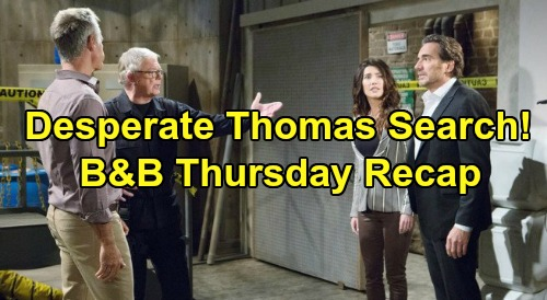 The Bold and the Beautiful Spoilers: Thursday, November 14 Recap – Steffy & Ridge Search For Thomas - Hope Deceives Liam About Deadly Night