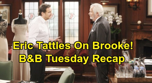 The Bold and the Beautiful Spoilers: Tuesday, February 4 Recap - Brooke Craves Booze After Drinking Spiked Juice - Eric Complains To Ridge