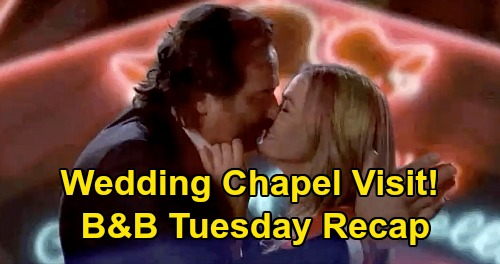 The Bold and the Beautiful Spoilers: Tuesday, April 14 Recap - Ridge & Shauna Wedding Chapel Visit - Brooke Targets Hubby For 'Rescue'