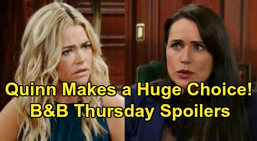 The Bold and the Beautiful Spoilers: Thursday, August 29 - Quinn Weighs Helping Shauna & Flo - Ridge Blasts Liam For Berating Thomas