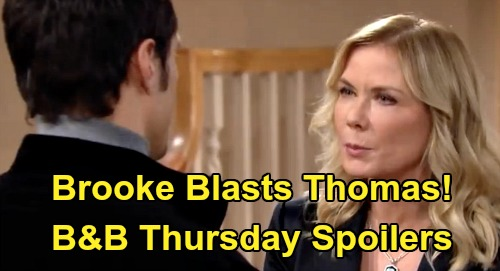 The Bold and the Beautiful Spoilers: Thursday, February 20 - Thomas Proposes To Zoe - Brooke Blasts Hope's Ex For Devious Plan