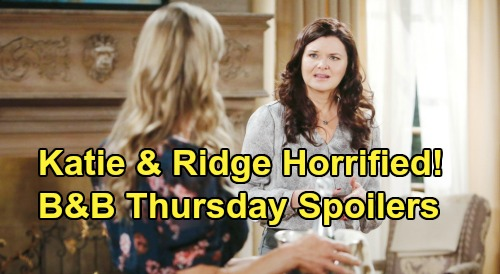 The Bold and the Beautiful Spoilers: Thursday, March 26 - Katie and Ridge Horrified, Quinn's Kiss Video Plays To Party Guests
