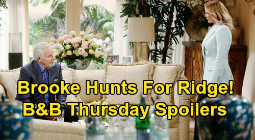 The Bold and the Beautiful Spoilers: Thursday, April 9 - Brooke Desperately Seeks Ridge - Donna Begs Katie To Forgive Cheating Sister