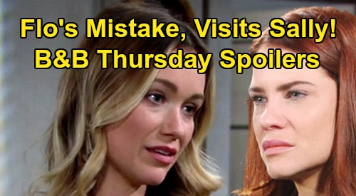 The Bold and the Beautiful Spoilers: Thursday, March 19 - Flo's Big Mistake, Visits Sally - Donna Sees Brooke Kissing Ridge Video