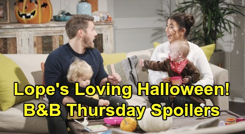 The Bold and the Beautiful Spoilers: Thursday, October 31 - Steffy & Liam's Loving Halloween Together - Hope Gains Thomas' Trust