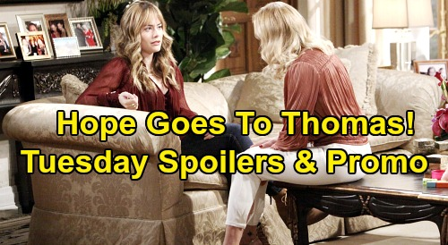 The Bold and the Beautiful Spoilers: Tuesday, January 21 - Hope Leans On Thomas - Sally Fights For Wyatt, Blasts Flo