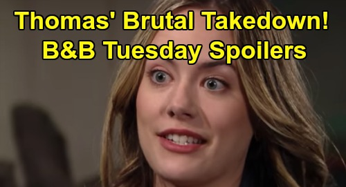 The Bold and the Beautiful Spoilers: Tuesday, March 10 - Thomas Set Up For Wedding Shocker - Bill & Brooke Conspire To Keep Kiss Secret
