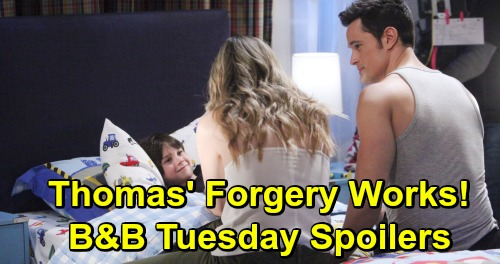 The Bold and the Beautiful Spoilers: Tuesday, May 21 - Hope Re-Evaluates Her Life After Caroline's Letter - Thomas' Forgery Works