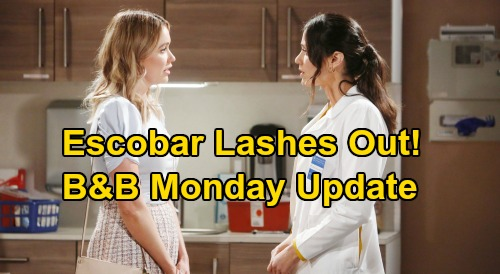 The Bold and the Beautiful Spoilers: Monday, April 6 Update – Steffy & Zoe Puzzled By Sally Weirdness – Escobar Lashes Out at Flo