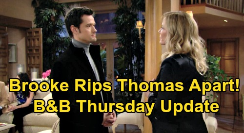 The Bold and the Beautiful Spoilers: Thursday, February 20 Update – Zoe Proposal Horrifies Douglas & Hope – Brooke Rages at Thomas