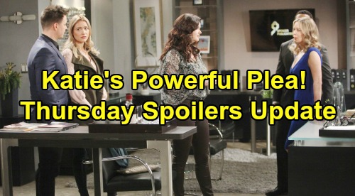 The Bold and the Beautiful Spoilers: Thursday, January 16 Update – Quinn Fights Back, Brooke Battle Is On – Katie's Powerful Plea