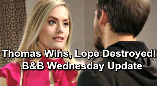 The Bold and the Beautiful Spoilers: Wednesday, May 22 Update – Lope Destroyed, Thomas Wins – Flo Gets Another Reason to Feel Guilty