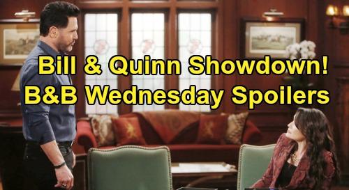 The Bold and the Beautiful Spoilers: Wednesday, April 15 - Brooke Intercepts Ridge - Bill Threatens Quinn - Wyatt Makes Sally Move