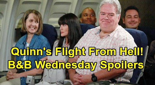The Bold and the Beautiful Spoilers: Wednesday, April 29 - Quinn's Flight From Hell - Liam Sulks Watching Steffy & Wyatt - Eric's CEO Reveal