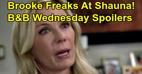 The Bold and the Beautiful Spoilers: Wednesday, January 15 - Brooke Outraged By Ridge's Shauna Kisses - Wyatt & Flo Head To Katie's Meeting