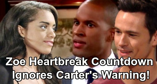 The Bold and the Beautiful Spoilers: Zoe Heartbreak Countdown – Carter Warns Thomas Is Trouble, Really Wants Hope