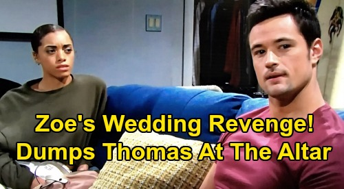 The Bold and the Beautiful Spoilers: Zoe's Wedding Revenge, Dumps Thomas at the Altar – Steffy Sets Up Brother's Downfall?