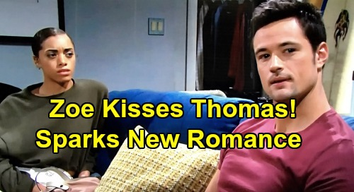 The Bold and the Beautiful Spoilers: Zoe Kisses Thomas - New Forrester Power Couple's Twisted Romance?
