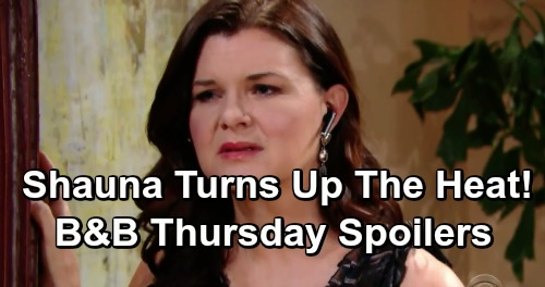 The Bold and the Beautiful Spoilers: Thursday, May 16 - Katie Spies Shauna's Steamy Advances - Dollar Bill Proves He's Changed