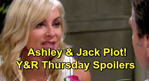 The Young and the Restless Spoilers: Thursday, July 18 - Jack Plots With Ashley, Abby's Love Move, and Traci Gets Cane To Open Up
