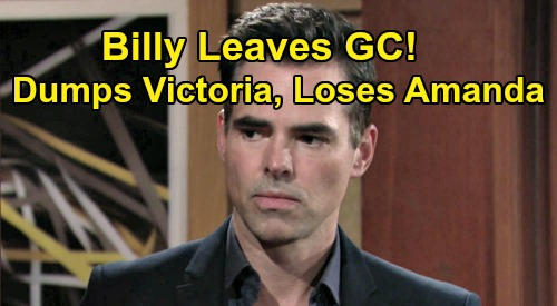 The Young and the Restless Spoilers: Billy Leaves Genoa City - Breaks Up With Victoria, Loses Amanda – Kicks Off Mission to Find Himself