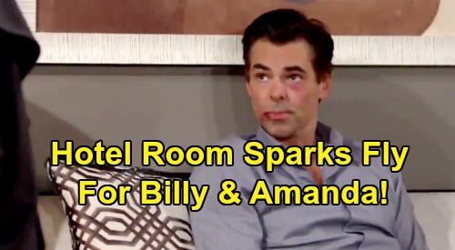 The Young and the Restless Spoilers: Sparks Fly for Billy and Amanda – Hotel Room Temptation Explodes