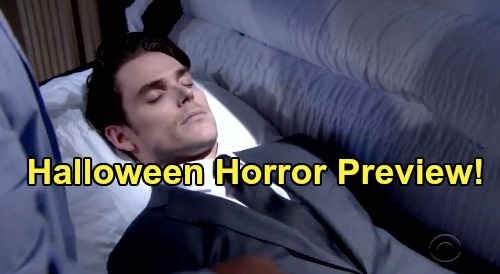 The Young and the Restless Spoilers: Week of October 28 Halloween Preview - Nightmares Bring Horror - Adam Lying in a Casket
