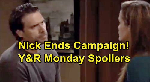 The Young and the Restless Spoilers: Monday, November 18 – Chance Warns Adam About Secret, Phyllis Is a Threat – Nick Ends Campaign