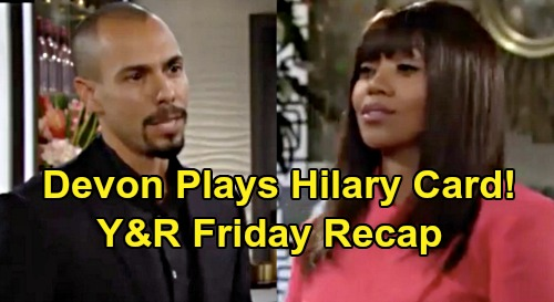 The Young and the Restless Spoilers: Friday, October 4 Recap - Devon Plays The Hilary Card On Amber - Phyllis's New Cane Scheme