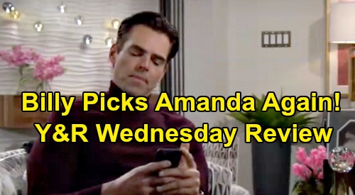 The Young and the Restless Spoilers: Wednesday, January 8 Review - Billy Picks Amanda Over Victoria - Adam & Victor Bicker