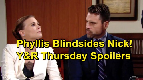 The Young and the Restless Spoilers: Thursday, February 21 – Phyllis Causes Courtroom Chaos - Nick Struggles With Blindside