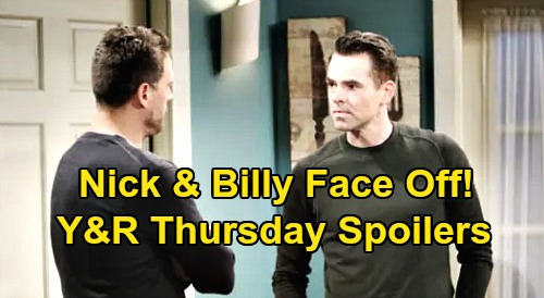 The Young and the Restless Spoilers: Thursday, March 26 – Nick & Billy Face Off - Victor Uncovers Adam's Murder Agenda