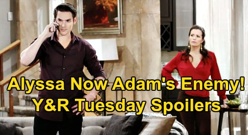 The Young and the Restless Spoilers: Tuesday, April 14 – Alyssa Becomes Adam's Enemy - Newman Family Fight Erupts