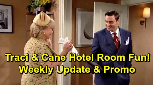 The Young and the Restless Spoilers: Week of July 15 Update – Cane and Traci's Hotel Room Fun – Adam Crashes and Burns with Christian